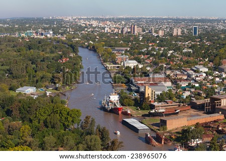 View from the helicopter for Tigre, Buenos Aires, Argentina #238965076