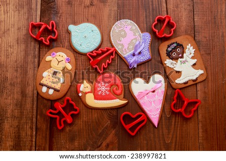 Christmas homemade gingerbread cookies on wooden background #238997821