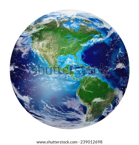 Blue Planet Earth from space showing North & South America, USA. Global World isolated on white background, Photo realistic 3D rendering with clipping path - Elements of this image furnished by NASA