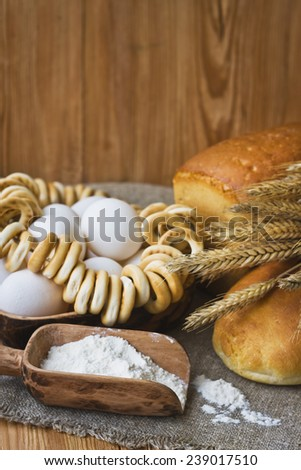 Composition with bread in retro style #239017510