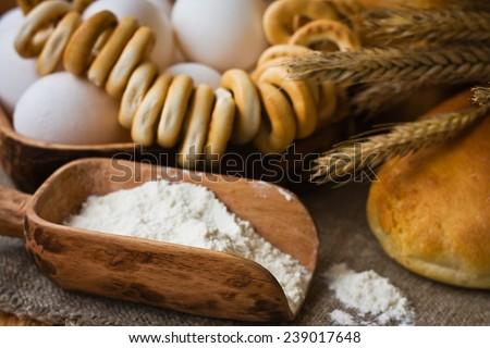 Composition with bread in retro style #239017648