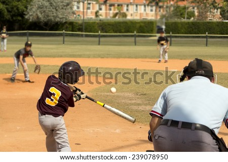 Kids playing Baseball in youth league