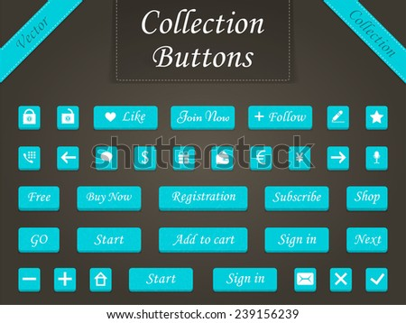 Vector set of modern buttons for design sites, programs and applications. Web elements - buttons for online shopping - Stock Vector. #239156239