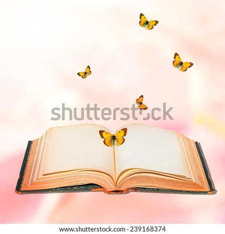 Open book and butterflies textured abstract background   #239168374