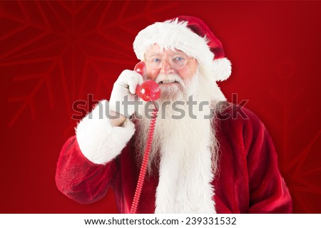 Santa claus on the phone against red background #239331532