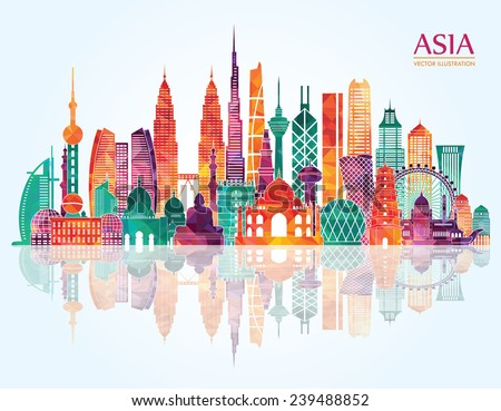 Asia  skyline detailed silhouette. Vector illustration Royalty-Free Stock Photo #239488852
