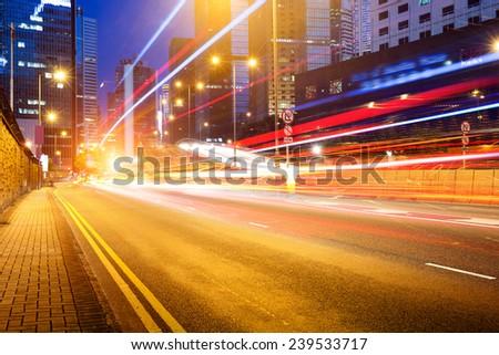 Modern city at night, Hong Kong, China. #239533717