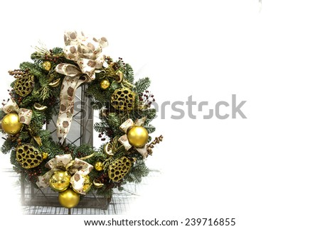 green christmas wreath with decorations isolated on white background #239716855