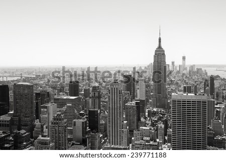 View of Midtown Manhattan New York City skyline in black and white