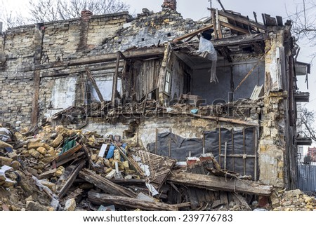 Odessa, Ukraine - December 20, 2014: the ruins of the old historic homes destroyed by the earthquake and destructive exploitation of urban structures December 20, 2014 in Odessa, Ukraine. #239776783