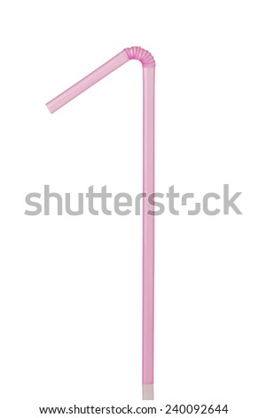 A Purple Drinking Straw Isolated on a White Background  #240092644