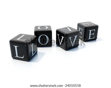 Word love on black bricks isolated on white