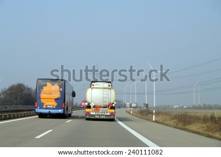 HIGHWAY, GERMANY - March 05, 2014 Fragments of high-speed roads of Germany #240111082