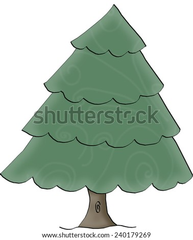 Deciduous Pine (CONIFER) Tree Coloring Page Isolated on White