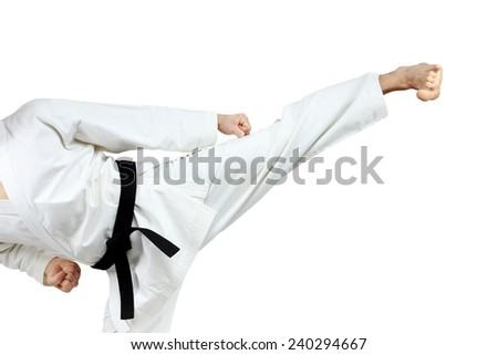 Yoko-geri in perfoming an athlete in karategi #240294667