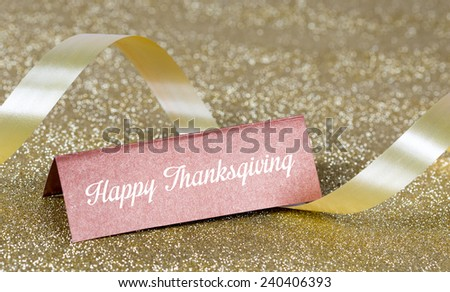 Happy Thanksgiving Day on Place Card