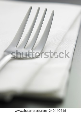 close up of the fork on the napkin #240440416