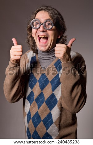teacher with funny glasses, studio picture