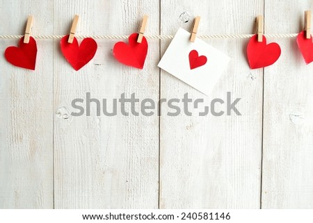 Red heart message card with red heart paper cut out #240581146