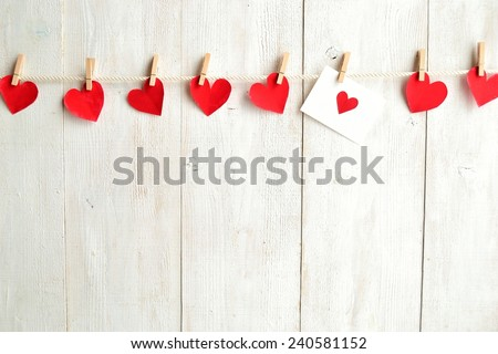 Red heart message card with red heart paper cut out #240581152
