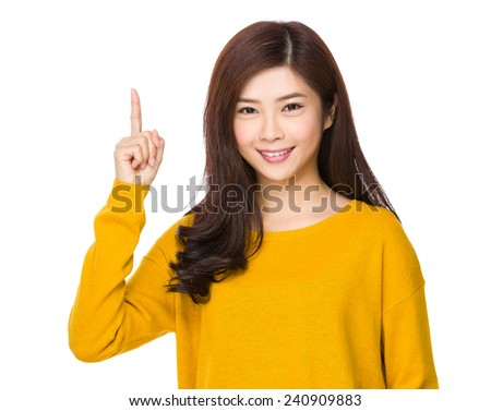 Woman with finger point up #240909883