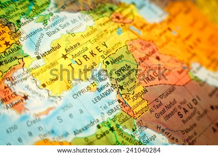 close-up macro photograph of map Syria Jordan and Turkey .Selective focus on Syria