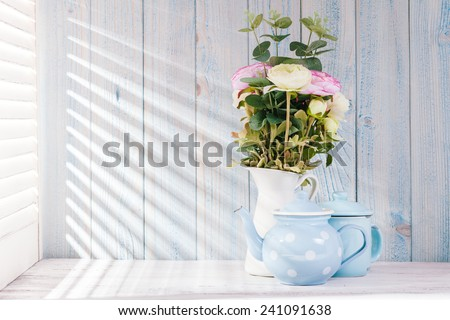 Morning still life on shabby chic table and  light from the blinds #241091638