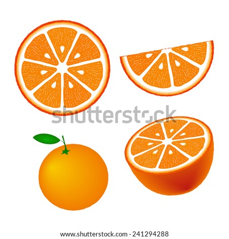 Collection of oranges, isolated on white background, vector illustration. #241294288