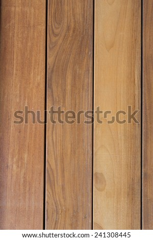 "Description:  ExteriorTeak Wall with black trim. Title:  Vertical Teak Wall"". #241308445"