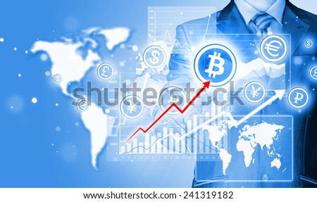 Choosing bitcoins, businessman pressing touch screen button. #241319182
