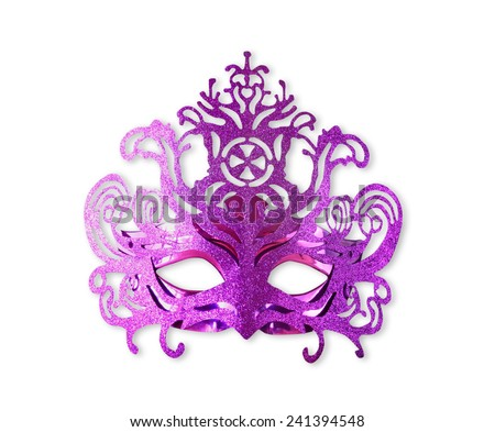 purple carnival mask isolated on white