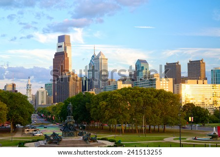 Philadelphia skyline at sunset, PA, USA