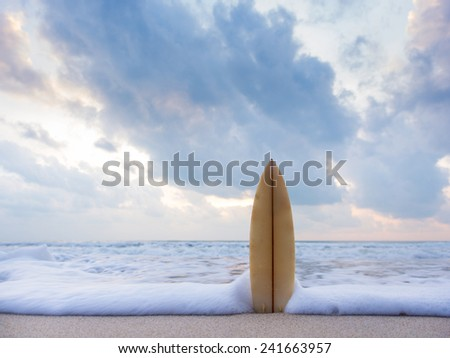 Surfboard on the beach at sunset #241663957