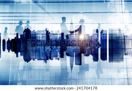 Business People Handshake Agreement Cityscape Corporate Deal Concept #241704178