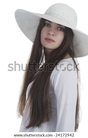 beautiful girl in a white hat on a white #24172942