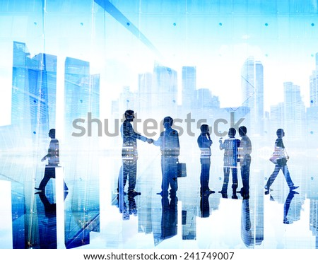 Business People Handshake Agreement Cityscape Corporate Deal Concept #241749007
