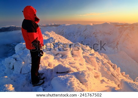 Isolated woman standing on snow covered mountain at sunset #241767502