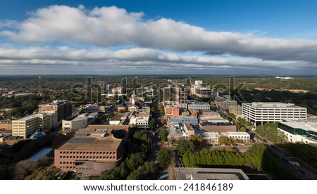 TALLAHASSEE, FLORIDA - DECEMBER 5: Downtown Tallahassee from the observation deck (22nd Floor) of the Florida State Capitol building on December 5, 2014 in Tallahassee, Florida #241846189