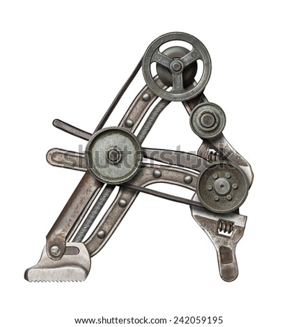 Mechanical metal alphabet letter A