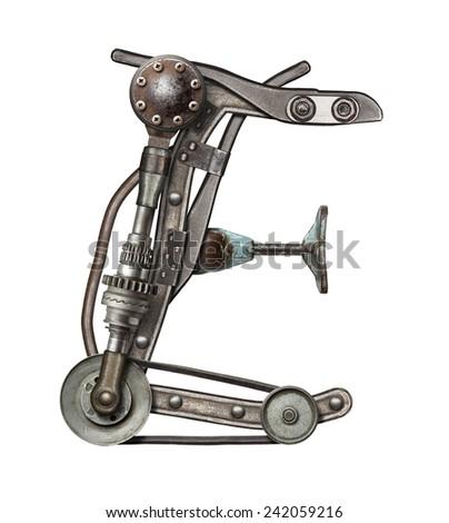 Mechanical metal alphabet letter E