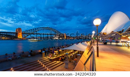View of Sydney Harbour Bridge from Circular Quay. Royalty-Free Stock Photo #242204320