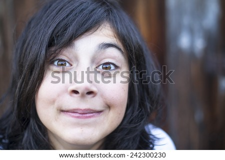 Close-up portrait of emotional teen girl. #242300230