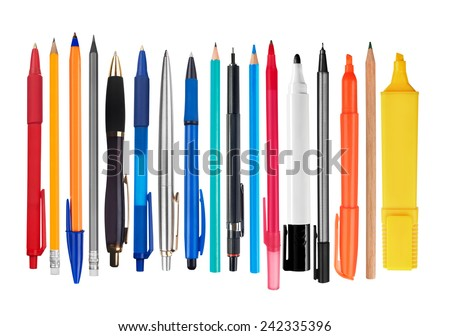 Pens and pencils on white background Royalty-Free Stock Photo #242335396