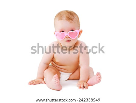 Funny baby in glamour glasses #242338549