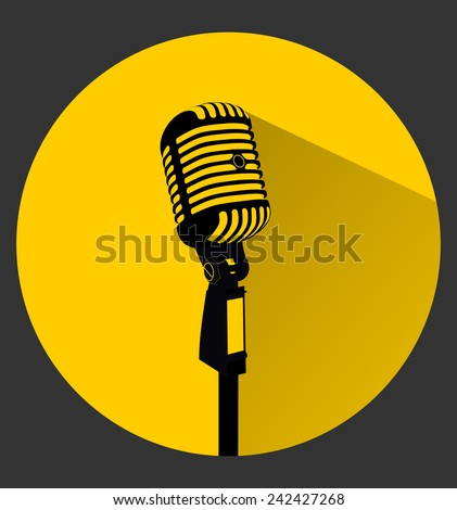 Vintage black silhouette retro stage microphone - web icon in circle frame. old technology concept, flat and shadow theme design sign, vector art image illustration, isolated on yellow background