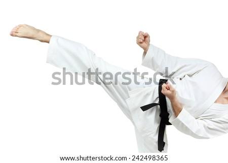 Circular blow leg executes man in karategi #242498365