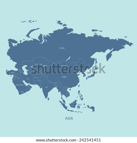 ASIA MAP WITH THE NAME OF THE COUNTRIES illustration vector  Royalty-Free Stock Photo #242541451