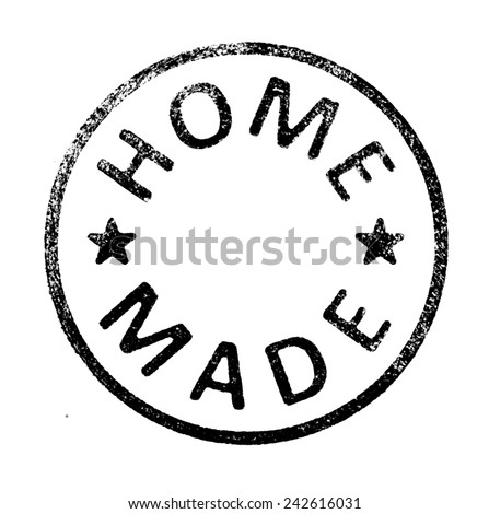 """Rubber stamp with """" HOME MADE """" text on white Royalty-Free Stock Photo #242616031"""