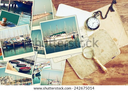 collage with yachts, boats, lighthouse and a coast. Nautical concept