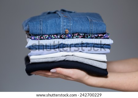 Horizontal view of perfect ironed female clothes #242700229